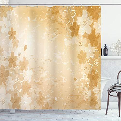 Ambesonne Nature Cortina de ducha, diseño de flores de cerezo en forma desgastada, impresión de obras de arte, tela de tela, juego de decoración de baño con ganchos, 190,5 cm de largo, amarillo oscuro