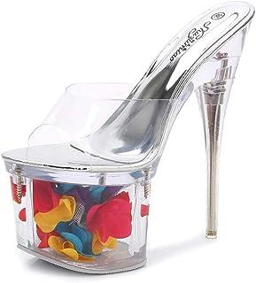 Women's Peep Toe Fish-Billed Sandals,Ladies Stiletto PlatformSandals,Summer Sandals with Flowers, Transparent Pumps Sandals