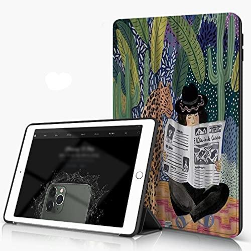 Custodia per iPad 10.2 2019, Space Artist Colourful A Leopard Reading Newspaper Sit by A Lady in Tropical Fore Smart Cover con Supporto a Tre Ante in PU con Retro Rigido [Auto Sleep Wake]