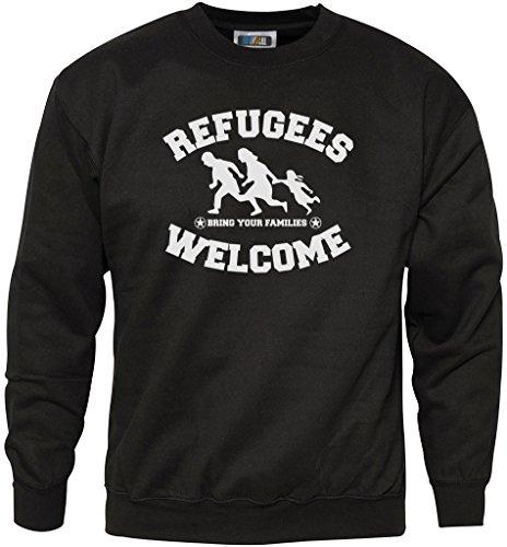 HotScamp Refugees Welcome Sweatshirt für Jugendliche und Herren Gr. XS, Schwarz