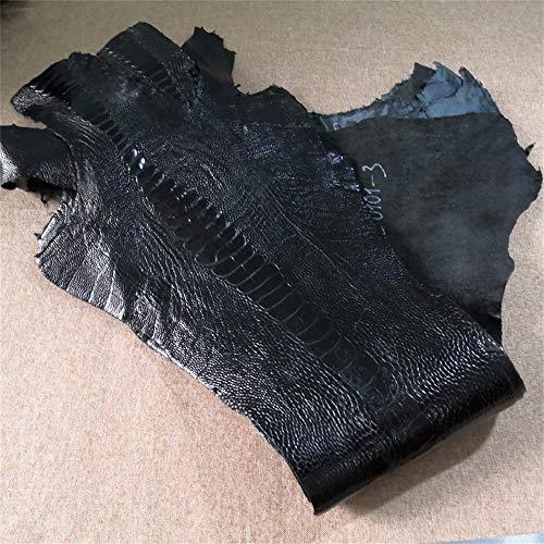 Genuine Ostrich Leg Hide Skin Natural Leather Skin Ostrich Paw Leather for Wallet Hand Shell Bag Belt Large (Black)