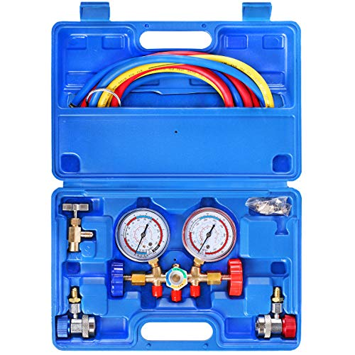YSTOOL 3 Way AC Manifold Diagnostic Gauge Refrigerant Charging Set for Air Conditioner HVAC R134a R404a R22 R12 Freon with 5FT Hose R134a Adjustable Quick Couplers Can Tap Acme Adapter
