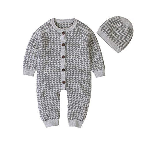 DIASTR Baby Overall Junge Mädchen Niedlich Kapuzenpullover Einfarbig Kinder Jumpsuit Overall Pyjama Baby Latzhosen Winter Plaid Stricken Strampler...