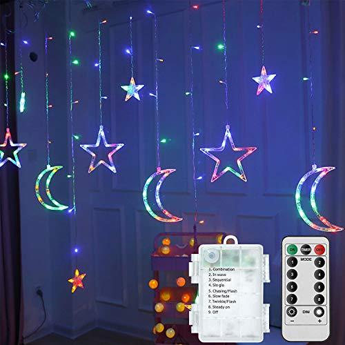 PTN Cortina de Luces, LED Guirnaldas luminosas, Luz Cadena, Luz de Cortina, 8 Modos de Luz Perfecto, Guirnaldas Luminosas Estrellas para Decoración de Navidad, Festival,Fiestas, Casa,Jardín,Boda