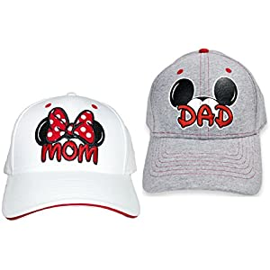 Disney Set Mickey & Minnie Hats Baseball Cap Men's Women's 2 Pack (White MOM & Grey DAD)