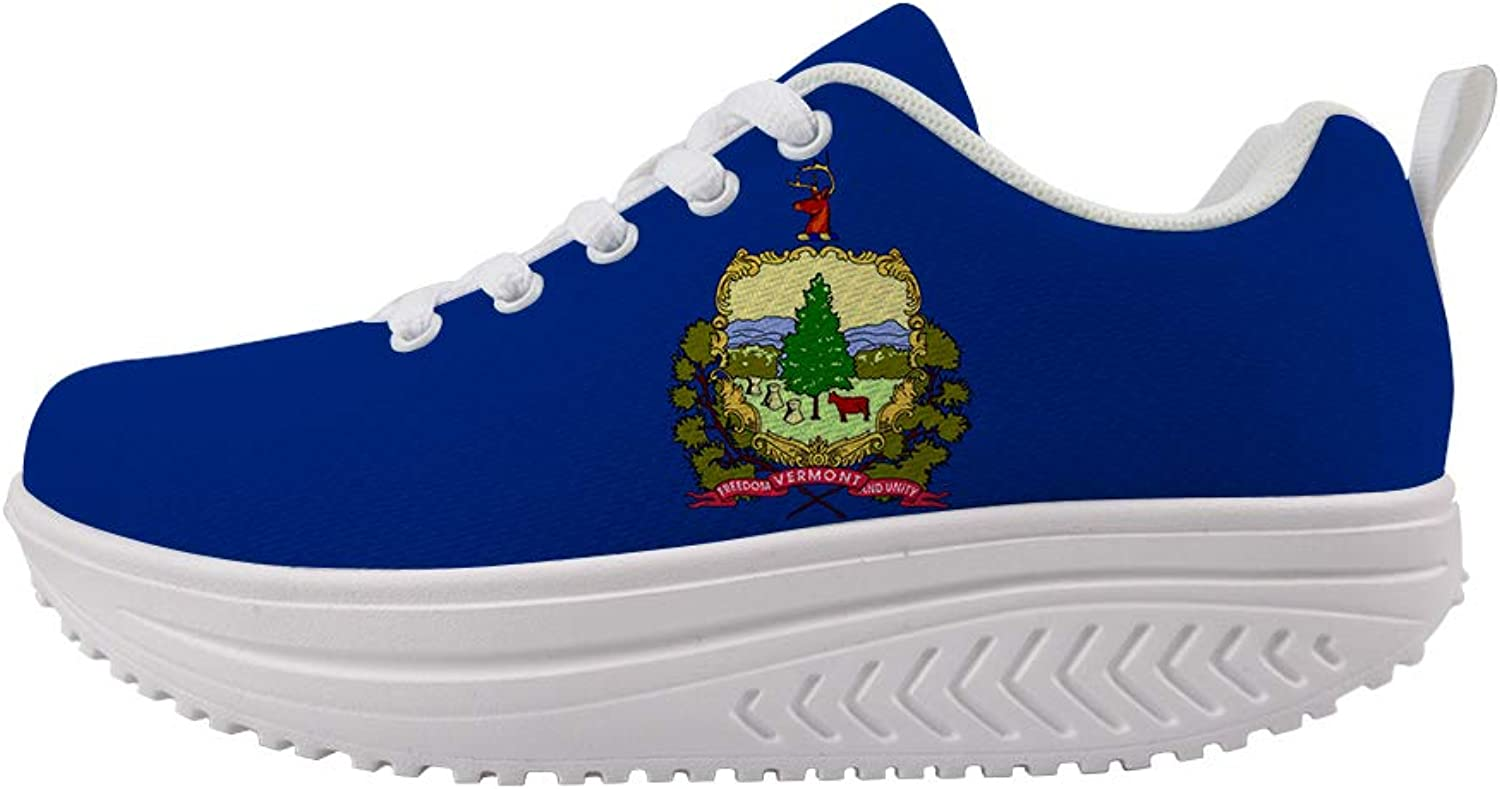 Owaheson Swing Platform Toning Fitness Casual Walking shoes Wedge Sneaker Women Green Mountain State Vermont Flag