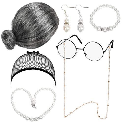 LOPOTIN 7TLG Oma Perücke Kostüm Accessoire Set Oma Brille mit Perlen Armband Perlenkette Cosplay Zubehör Granny Kostümzubehör Großmutter Verkleidung für Fasching Karneval Halloween Damen Mädchen