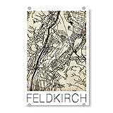 artboxONE Acrylglasbild 30x20 cm Städte/Weitere Retro Map Feldkirch Vintage - Bild Retro feldkirch map