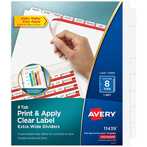 AVERY 8-Tab Extra Wide Binder Dividers, Easy Print & Apply Clear Label Strip, Index Maker,White, 1 Set (11439)