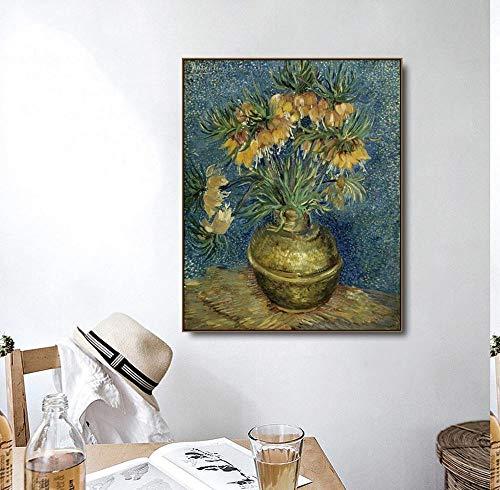 QianLei koperen vaas van Vincent van Gogh poster druk canvas schilderij kalligrafie wooncultuur muurkunst schilderijen voor woonkamer 48x60 cm geen vorm