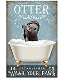 AZSTEEL Otter Wash Your Paws Funny Gifts Bathroom Poster