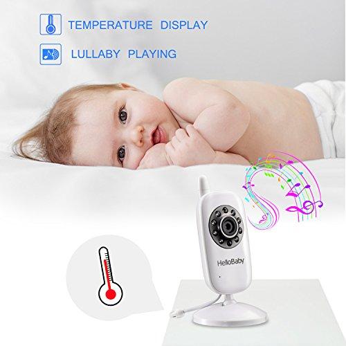 HelloBaby Monitor de vídeo con cámara digital, monitor inalámbrico de 2,4 GHz de vídeo y audio con transmisión de 960 pies de largo alcance, conversación bidireccional, visión nocturna, VOX, servidor de temperatura, 4 en 1 Connect, 3.2In Screen Baby Monitor