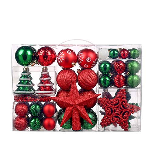 Christmas Ball Ornaments,100 Pcs Assorted Shatterproof Christmas Ball Set with Gift Package, for Christmas Tree Decor(Red and Green)