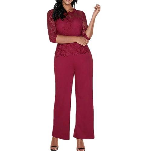 Lover-Beauty Mono Largo Casual Manga Larga Otoño Encaje Hueco Flounce Pantalones Piernas Anchas Suit