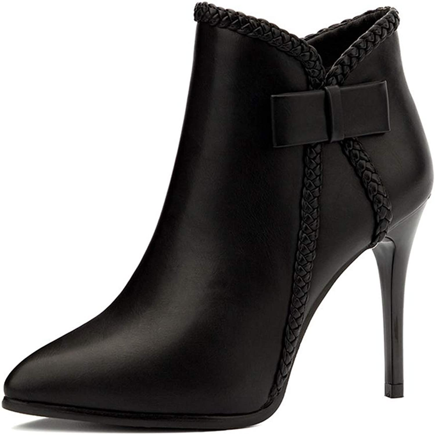CYBLING Women's Bowknot Ankle Boots Pointed Toe Stiletto High Heel Side Zipper Ladies Short Booties