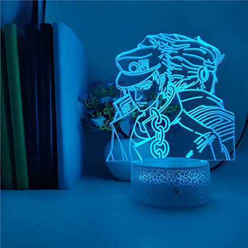 JoJo's Bizarre Adventure Anime 3D Night Light 16 Colors LED Touch Light Table lamp Bedroom Decoration Light Children's Gift (with Remote Control) Kujo Jotaro