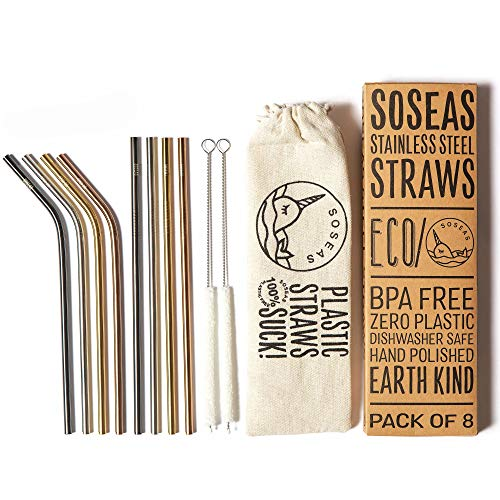 Reusable Metal Straws by Soseas, 8 Pack Stainless Steel Eco Drinking Straws, Plastic-Free with...