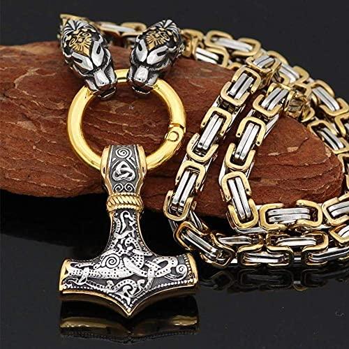 AMOZ Jynqr - Collar con Amuletos de Cabeza de Dragón Vikingo, Hombres 's Thor' S Hammers Colgante 3D 2021 Lucky Talisman Hombres Colgante Vintage de Acero Inoxidable Lucky Runic Talisman Pagan Jewelr
