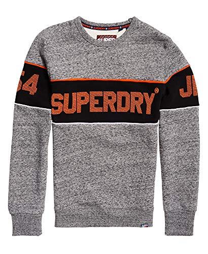 Superdry Retro Stripe Crew Sudadera, Gris (Flint Grey Grit Xje), S para Hombre
