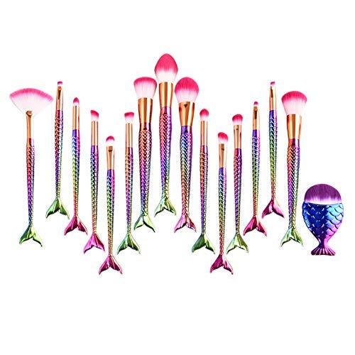 Pinceaux de Maquillage Set de 12 Pièces Fondation Mélange Blush Yeux Visage Poudre Brosse Cosmétiques 15 Couleur Violet