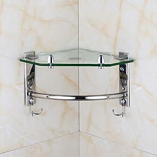 強化ガラス洗面所バスルームコーナーシェルフウォールマウントポリッシュクロームステンレススチール三角ハンギングフローティングシェルフラックシャワーキャディシャンプー用2フック付き
