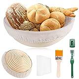 TOOP Cesta de fermentación para pan, 25 cm, redonda, para 1 kg de masa de pan, juego de caña de rota natural con paño de lino y espátula hecha a mano
