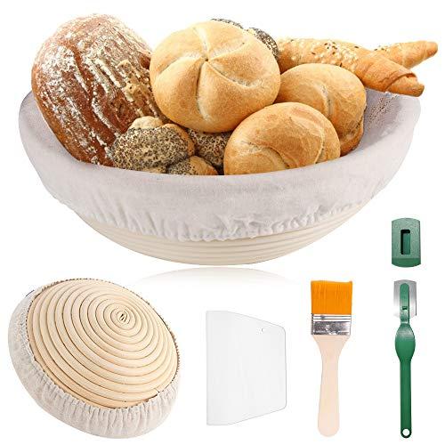 TOOP Cestino da fermentazione, cestino per il pane, 25 cm, rotondo, per 1 kg di pasta per il pane, set in canna d'fucilecon panno di lino e fatto a mano, cestino per il pane con raschietto per impasto