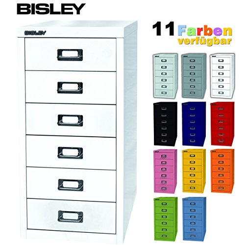 BISLEY Schubladenschrank 29 aus Metall mit 6 Schubladen | Schrank für Büro, Werkstatt und Zuhause | Stahlschrank in 11 Farben (Verkehrsweiß)