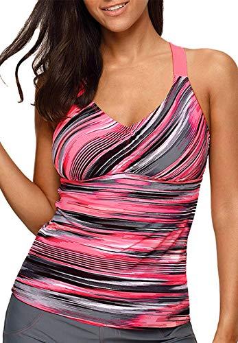 Aleumdr Womens Beach Athletic Printed Strappy Racerback Summer Padded Tankini Swim Top No Bottom Medium Size Multicoloured