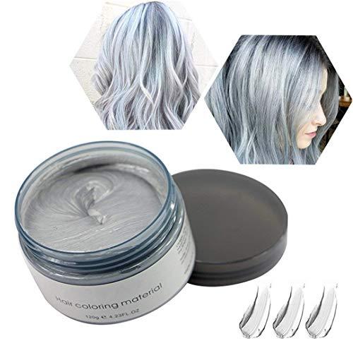 Haarwachs Temporäres Haarfarbe Wachs, Unisex Haarfärbemittel Wachs, Waschbares Pflanzenformel Mattes Natürliches Buntes Haarwachs (120g Silber-Grau)