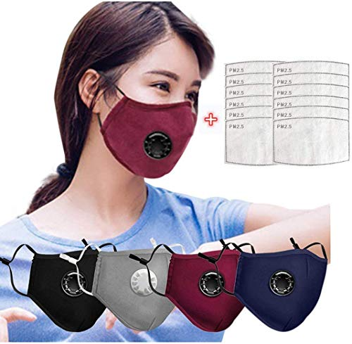 Gokeop 4Pcs+12Pcs Filter Pads Washable Dust Face Covering with Breathing Valve, Breathable Reusable for Outdoor Sport Cycling Adjustable Earloop Nose Bandana for Adult (Black, Red, Blue, Gray)