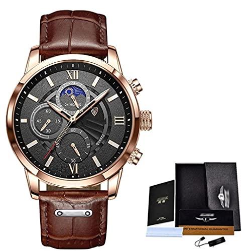 DSJMUY Relojes Hombre Relojes de Pulsera Cronografo Diseñador Impermeable Reloj Hombre Banda de Cuero Analogicos Fecha de Pulsera Regalo Elegante