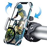 WOEOA Soporte Movil Bici Moto, Porta Movil Bicicleta Montaña con 360°Rotación, [2020 Más Seguro] Universal Soporte Manillar Motocicleta Ciclismo MTB GPS para iPhone 11 Pro MAX/X/8 4'-7'(Plateado)