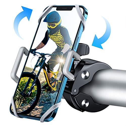 "Oferta de WOEOA Soporte Movil Bici Moto, Porta Movil Bicicleta Montaña con 360°Rotación, [2020 Más Seguro] Universal Soporte Manillar Motocicleta Ciclismo MTB GPS para iPhone 11 Pro MAX/X/8 4""-7""(Plateado)"