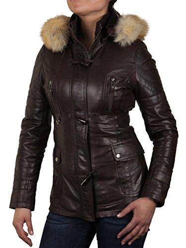 BRANDSLOCK para mujer chaqueta de motorista real cuero vendimia marrón (S)