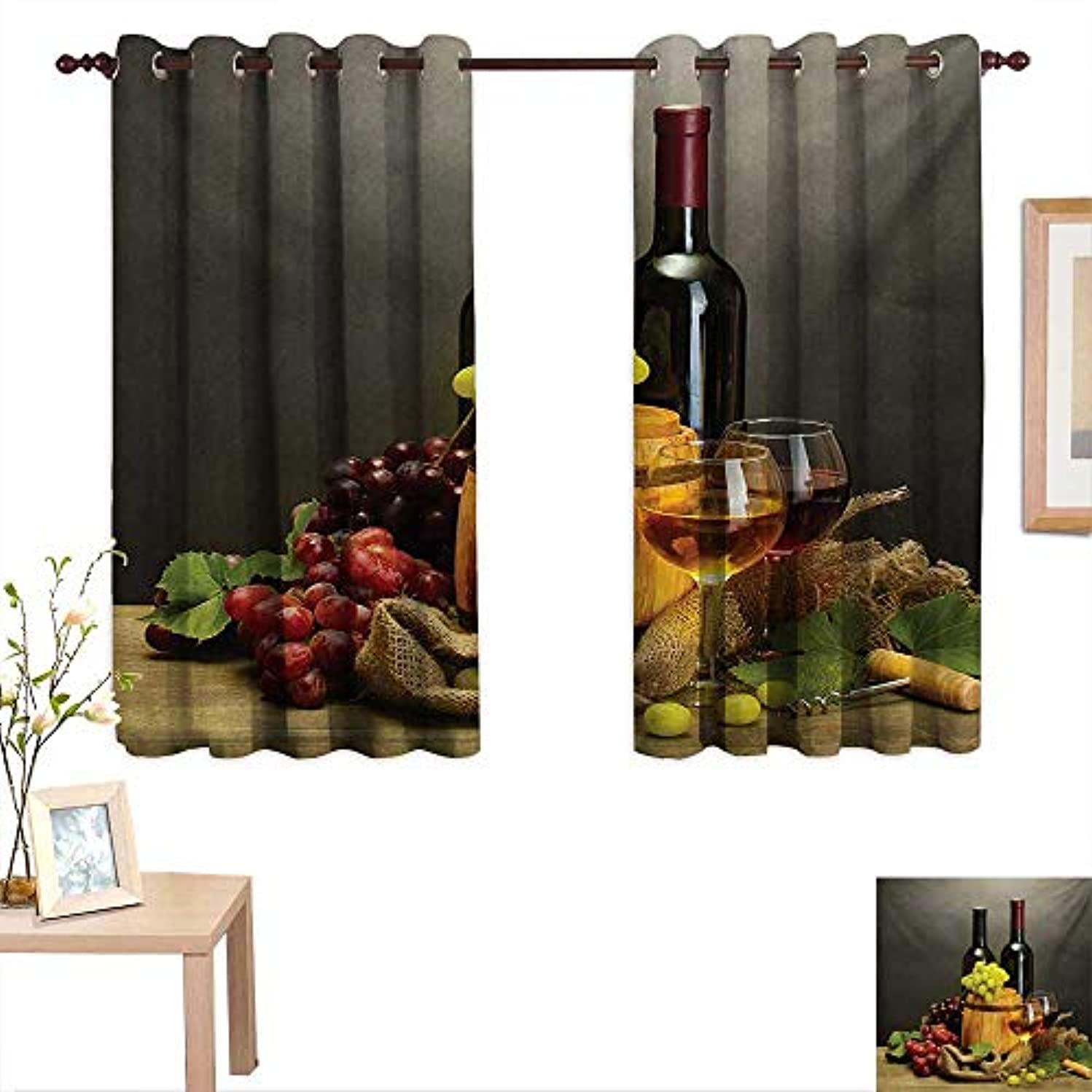 MartinDecor Winery Customized Curtains Barrel Bottles and Glasses of Wine and Ripe Grapes on Wooden Table Picture Print 55