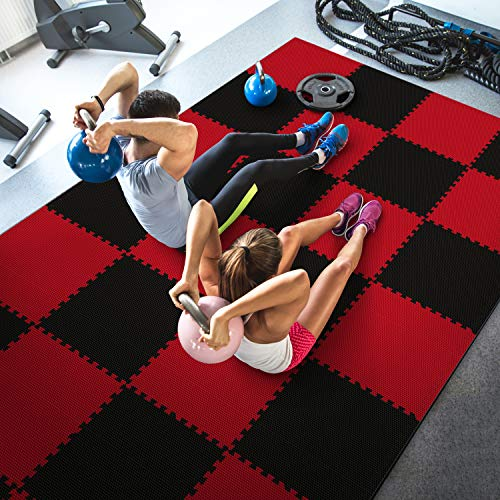 WF Athletic Supply High Density Reversible Premium Interlocking Foam Tiles - Perfect for Martial Arts, MMA, Home Gyms, P90x, Gymnastics, Cardio, and Exercise (1/2 Thick, 54 Square Feet, Black/Red)