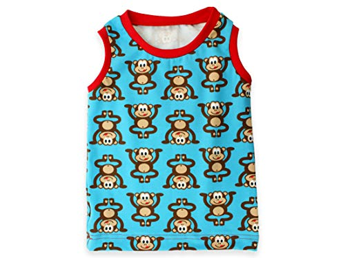 Kleine Könige Baby T Shirt Tanktop Jungen · Modell AFFE Äffchen türkis rot · Ökotex 100 Zertifiziert · Größe 86/92