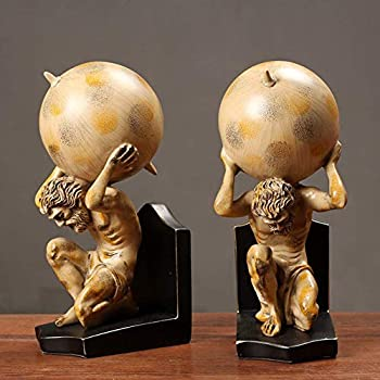 aasdf Roman Titan Atlas Statues Home Decor Bookends Resin Figurines Greek Hercules God Tabletop Sculptures Library Gifts Study Office A 2 Piece