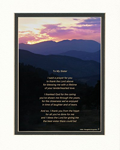 Sister Gift with Thank You Prayer for Best Sister Poem. MTS Sunset Photo, 8x10 Double Matted. Special Birthday, for Sister.