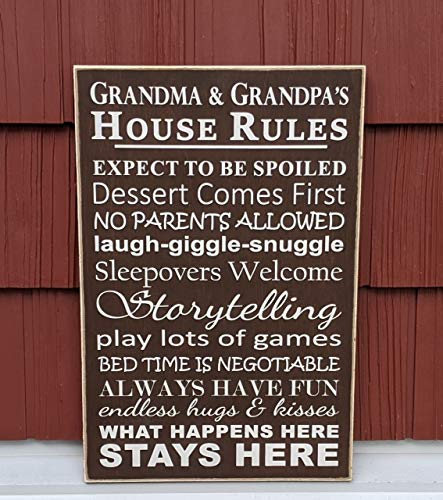DKISEE Grandma & Grandpa's House Rules Wood Sign, Wooden Plank Wall Plaque Decorative Wall Art for Home Kitchen Classroom Office Decor, 8x12 Inches, hwg144