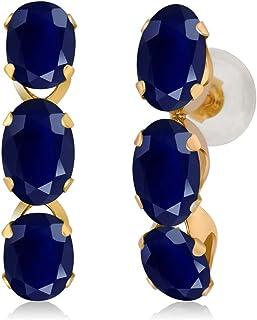 Gem Stone King 14K Yellow Gold Blue Sapphire Women Earrings (3.30 Ct Gemstone Birthstone Oval 6X4MM)