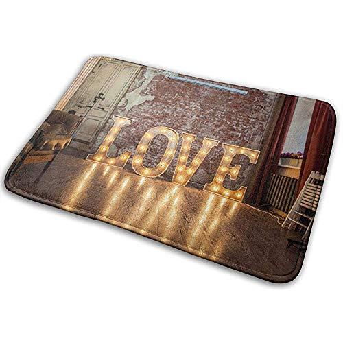 N/A rustieke houten badmat voor Valentijnsdag, antislip, absorberend, voor outdoor/entry/badkamer