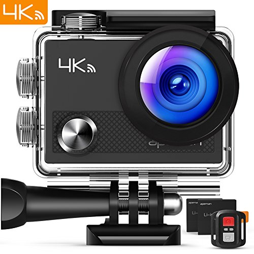 """APEMAN Action Camera 4K WiFi 16MP Waterproof Underwater Camera Ultra Full HD Sport Cam 30M Diving with 2"""" LCD 170¡ã Wide-Angle, 2.4G Remote Control, 2 Rechargeable Batteries, 20 Accessories Kits"""