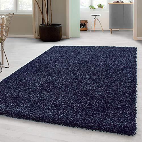 Hochflor Shaggy Teppich für Wohnzimmer Langflor Pflegeleicht Schadsstof geprüft 3 cm Florhöhe Oeko Tex Standarts Teppich, Maße:80x150 cm, Farbe:Navy