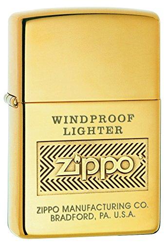 Zippo Logo Pocket Lighter, High Polish Brass