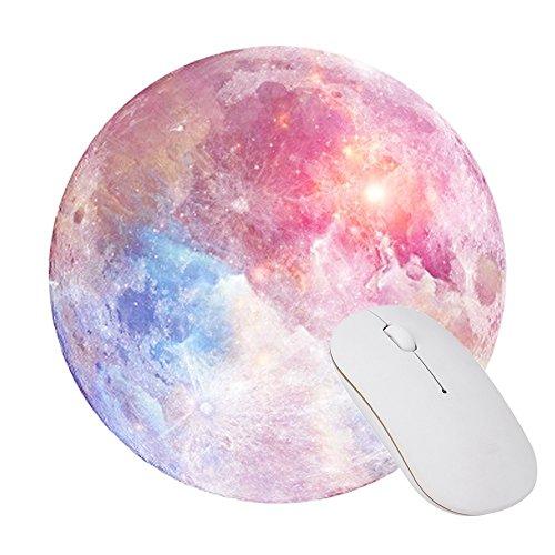 Gaming Mauspad,KINGCOO Office und Gaming Mauspad/Mousepad Runde Mousemat Mausunterlage mit Rutschfestem Gummi Mousepad (Regenbogen Mond)