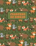 CUADERNO DE DIBUJO: BLOCK DE 100 PAGINAS EN BLANCO. LIBRETA ESPECIAL DIBUJO. FANTÁSTICO REGALO,  CREATIVO Y ORIGINAL PARA NIÑOS Y JÓVENES. LINDO ... PUERCOESPIN Y MAPACHES EN EL BOSQUE.