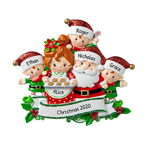 Personalized Santa & Mrs Claus with 3 Child Christmas Tree Ornament 2020 - Sweet Family Gingerbread Tradition Elf Surprise Made Cookie Cozy Holiday Foster Papa Nana Year Gift - Free Customization