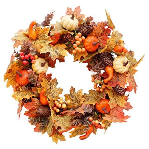 Corona de calabaza de Halloween y hoja de arce, corona de 20 pulgadas, corona de otoño para colgar en la puerta, con calabazas, bayas, nuez, piña, para puerta delantera de Acción de Gracias